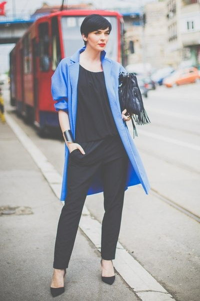 blue chic coat - black Oviesse bag - black Aldo heels - black Fracomina heels