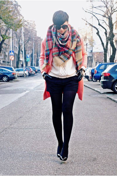 pink Sheinside coat - off white Zara sweater - black WOAKAO bag