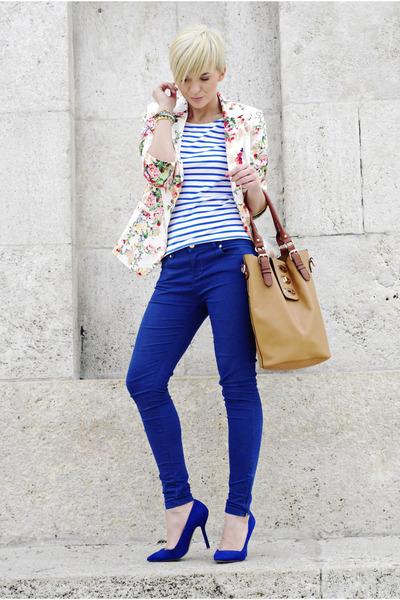 beige Choies blazer - navy Sheinside shirt - tawny HereJ bag - navy Zara pumps