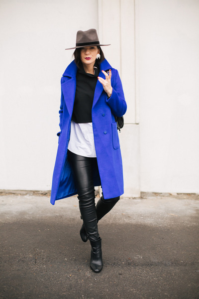black asos boots - blue Metisu coat - gray Rehab hat - black OFINGER STORE bag
