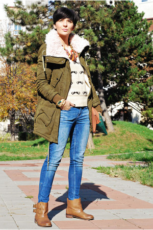 beige AX Paris sweater - tawny Bershka boots - navy Zara jeans