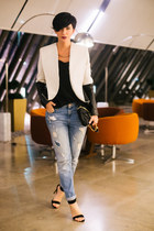 blue New Yorker jeans - off white Tamara Jarić jacket - black Zara sandals