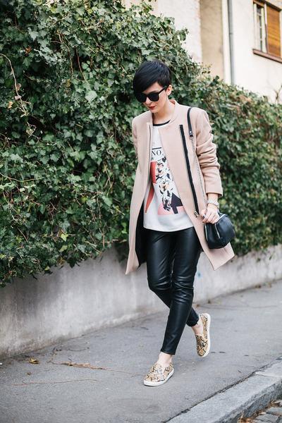 camel Zara coat - eggshell Zara shirt - black Zara bag - black Zara pants