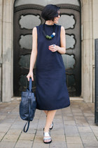 white Studio Glina ring - navy asos dress - black Freyrs sunglasses