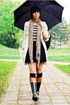 black Tommy Hilfiger boots - beige Mango coat - camel New Yorker sweater