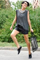 DIY t-shirt - Stradivarius bag - Stradivarius shorts - Aldo flats