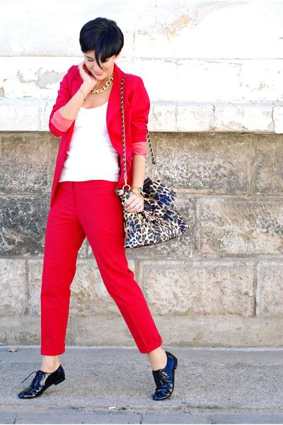 red custom made suit - white Shana shirt - camel Lookat bag - black Aldo flats