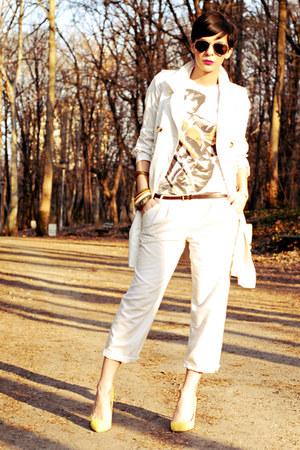 white Mango shirt - light yellow Bershka shoes - cream Mango coat