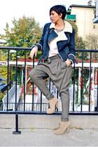 blue Mango jacket - nude Zara boots - tan Ekle pants - nude H&M blouse