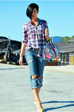 blue Guess jeans - light yellow Bershka shoes - blue Cortefiel shirt