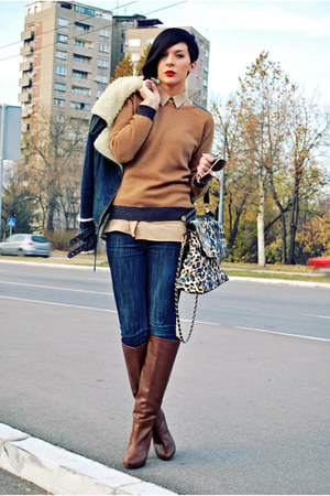 camel Lookat bag - dark brown Stradivarius boots - blue Zara jeans
