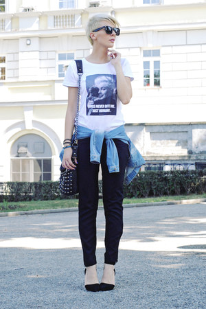 black pull&bear bag - white NAAMI shirt - black romwe sunglasses