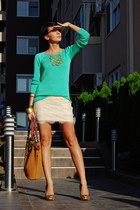 beige New Yorker skirt - aquamarine Koton sweater - bronze herejcom bag