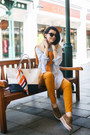 Light-brown-bata-shoes-light-blue-oviesse-shirt-orange-zara-scarf