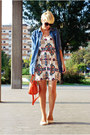 White-style-lately-dress-blue-sheinside-shirt-carrot-orange-chicnova-bag