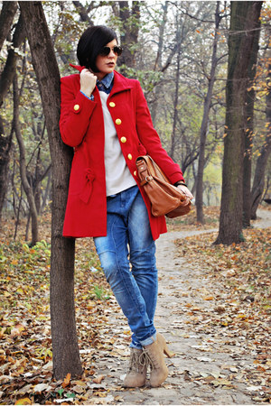 red Tally Weijl coat - tan Zara boots - blue Bershka jeans - beige H&amp;M sweater