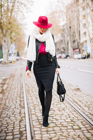 hot pink lindex hat - black Zara shoes - black lindex jacket