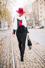 Black-zara-shoes-hot-pink-lindex-hat-black-lindex-jacket