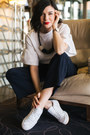 White-h-m-blouse-navy-h-m-pants-white-reebok-club-c-sneakers