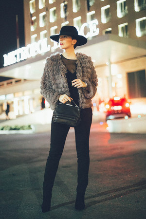 heather gray faux fur lindex coat - black Zara shoes - black lindex hat