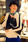 Blue-zara-dress-white-zara-sweater-black-tasnarija-bag-blue-zara-pumps
