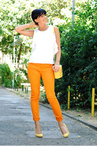 yellow Bershka shoes - orange pull&bear jeans - white M-puls Moda shirt
