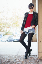 black Nursace boots - black Lulus jacket - brick red Sheinside sweater