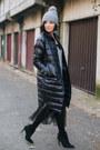 Black-h-m-dress-black-metisu-jacket-gray-h-m-sweater