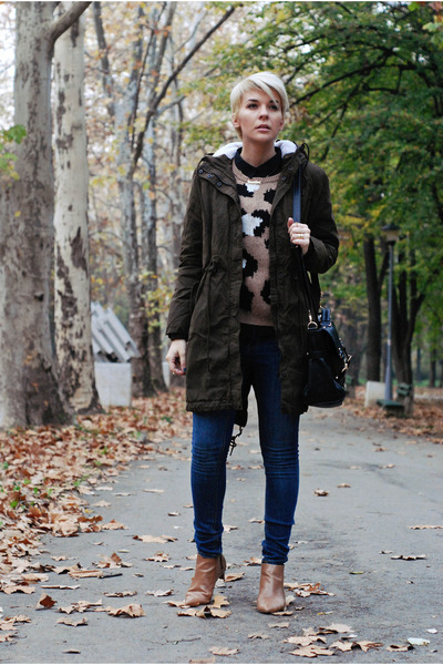 army green lindex jeans - bronze Zara boots - blue lindex jacket