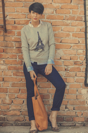 heather gray lindex sweater - ivory lindex shirt - bronze lindex bag