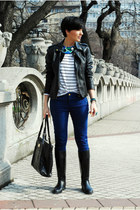 black USPolo boots - black Lulus jacket - black Mango bag - navy USPolo pants
