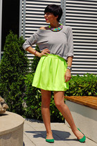 yellow luluscom skirt - heather gray Shana blouse - green H&M flats