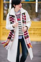 white lindex coat - bronze AmiClubWear boots - blue lindex jeans