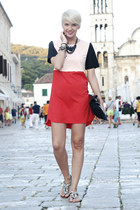 black Tasnarija bag - red Sheinside dress - black naughty monkey sandals