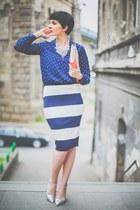 blue lindex shirt - off white lindex skirt - silver Aldo sandals