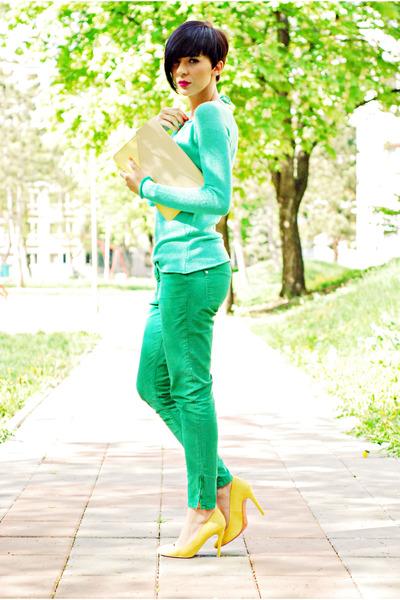 light yellow Bershka shoes - aquamarine Koton sweater - cream New Yorker bag