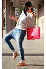 Blue-bershka-jeans-white-shana-shirt-hot-pink-bershka-bag