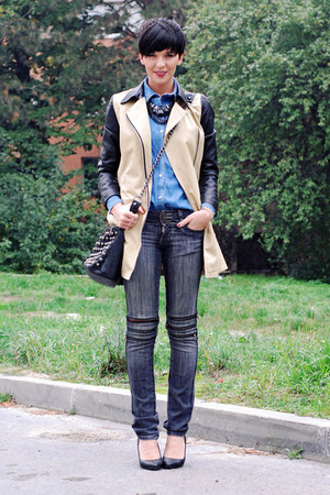 Choies coat - Zara shoes - Jagger jeans - Sheinside shirt - pull&amp;bear bag
