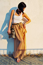 camel handmade skirt - bronze Lookat bag - white Via Dei sandals