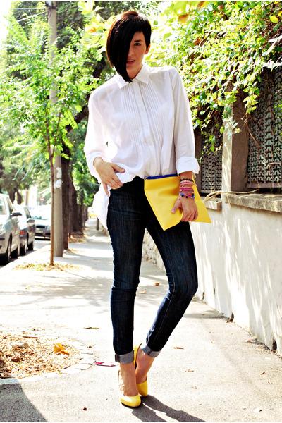 yellow Bershka shoes - blue Zara jeans - white non branded shirt