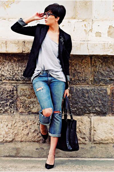 black pull&bear blazer - blue Guess jeans - black Mango bag - black Zara pumps