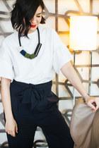 white H&M blouse - white Reebok Club C sneakers - navy H&M pants