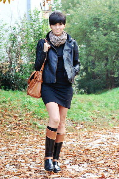 black lulus dress - tawny Tommy Hilfiger boots - black lulus jacket
