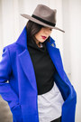 Black-asos-boots-blue-metisu-coat-gray-rehab-hat-black-ofinger-store-bag
