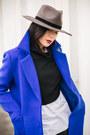 Black-asos-boots-blue-metisu-coat-gray-rehab-hat-black-ofinger-store-bag
