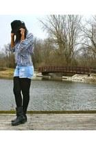 black HUE tights - black hat - light blue Levis shorts