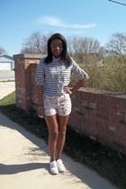 light pink floral print shorts - cream striped blouse