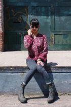 vintage blouse - bdg cigarette grazer jeans - acne shank boots - handmade scarf