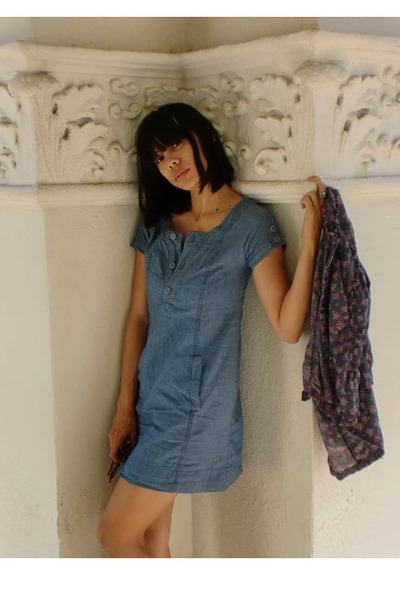 blue kimchee blue dress - purple vintage blouse - black Jeffrey Campbell boots