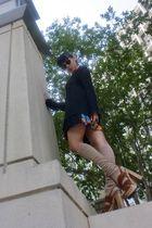 vintage dress - vintage sweater - ruched with love socks - Miu Miu shoes